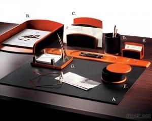 Cherry Wood/Leather 7 - PC Desk Set