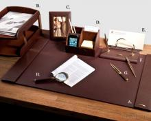 Luxury Brown Leather 8-Pc Desk Set